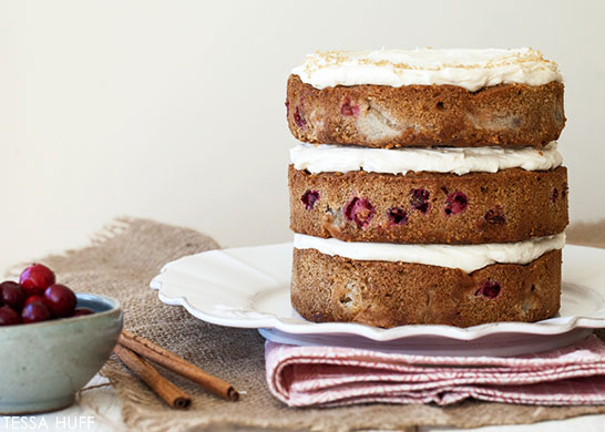 Pear & Cranberry Cake! Perfect for holiday parties and Christmas dessert. By Tessa Huff for TheCakeBlog.com