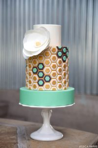 Gold & Mint Hexagon Cake | by Jessica Harris | TheCakeBlog.com