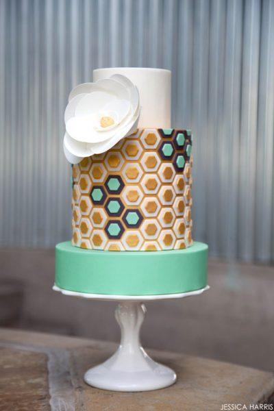Golden Hexagon Cake