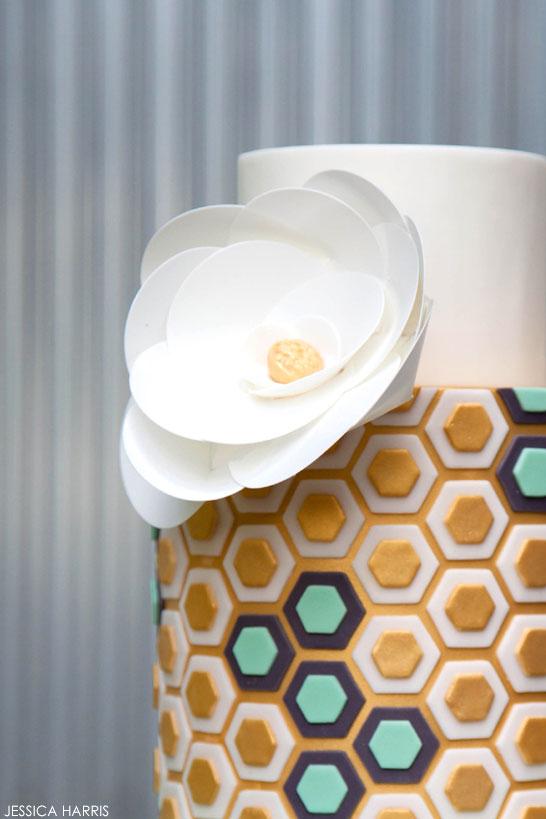 Gold & Mint Hexagon Cake   by Jessica Harris   TheCakeBlog.com