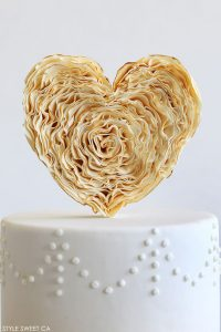 Gold Ruffle Heart Cake | by Tessa Huff of Style Sweet CA