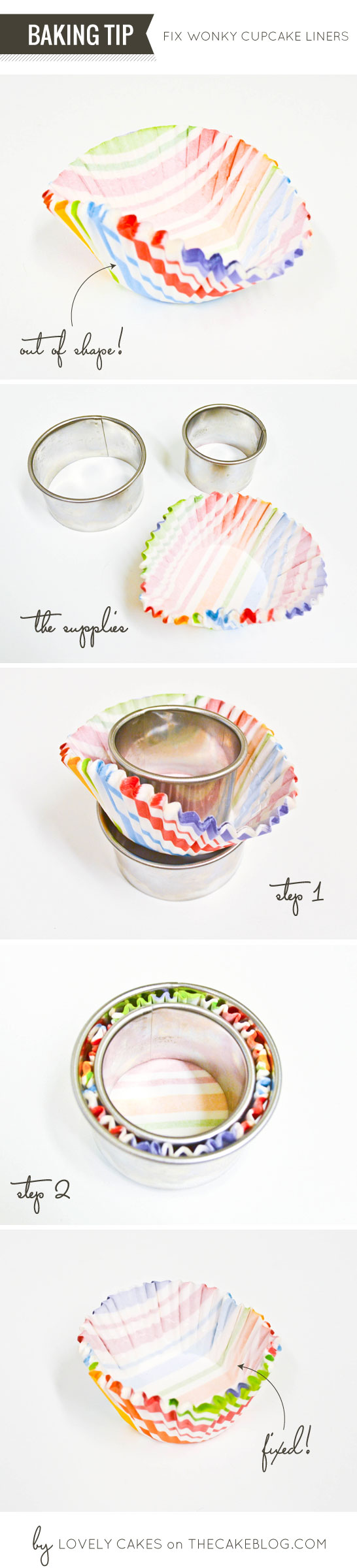 How to Reshape Cupcake Liners  |  by Lovely Cakes on TheCakeBlog.com