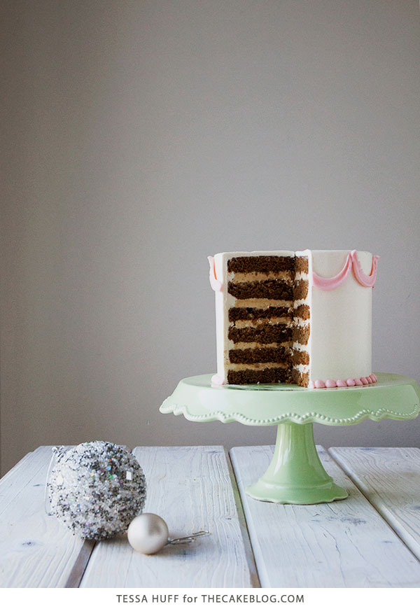 Gingerbread Latte Cake! Gingerbread cake, espresso buttercream and toffee bits, perfect for holiday parties and Christmas dessert | by Tessa Huff for TheCakeBlog.com