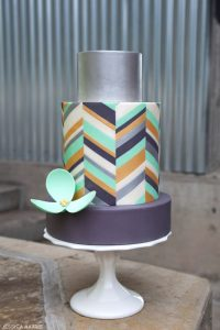 Metallic Chevron Cake
