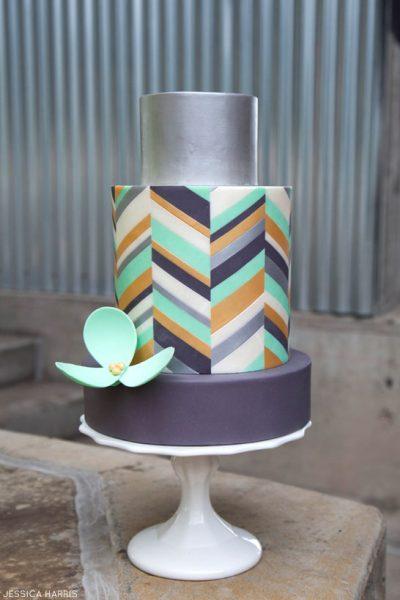 Metallic Chevron Cake