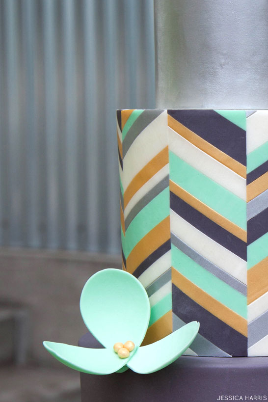 Metallic Chevron Cake | by Jessica Harris