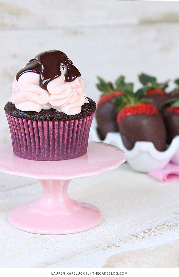 Chocolate Covered Strawberry Cupcakes   by Lauren Kapeluck for TheCakeBlog.com