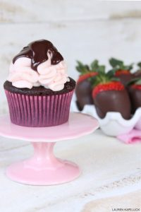 Chocolate Covered Strawberry Cupcakes | by Lauren Kapeluck for TheCakeBlog.com