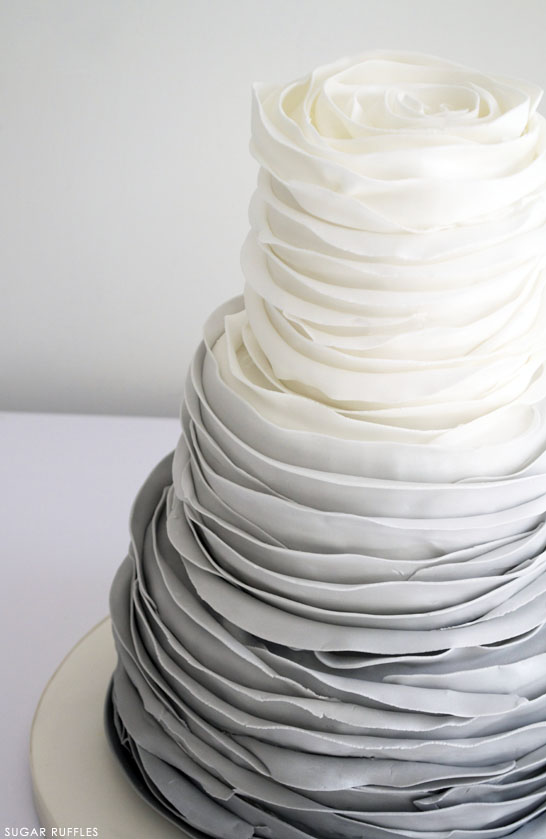 Grey Ombre Ruffled Rose Cake | by Sugar Ruffles on TheCakeBlog.com