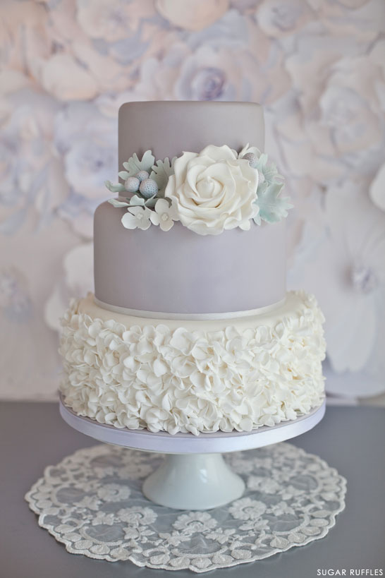 sugar ruffles elegant wedding cakes dove grey wedding cake 20586