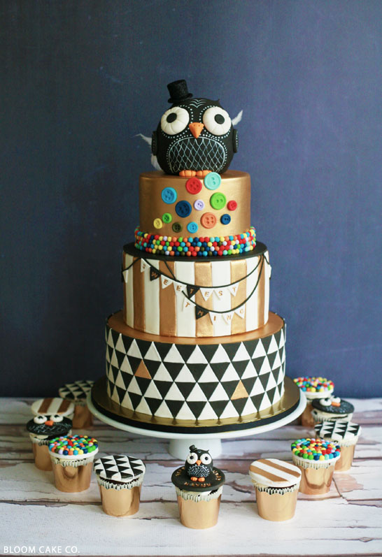 Swell Black Gold Owl Birthday The Cake Blog Funny Birthday Cards Online Elaedamsfinfo