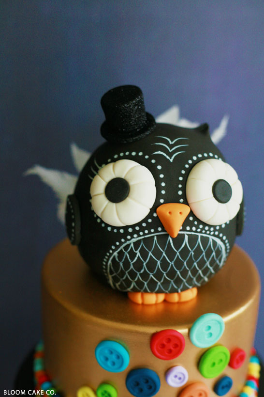 Enjoyable Black Gold Owl Birthday The Cake Blog Funny Birthday Cards Online Elaedamsfinfo
