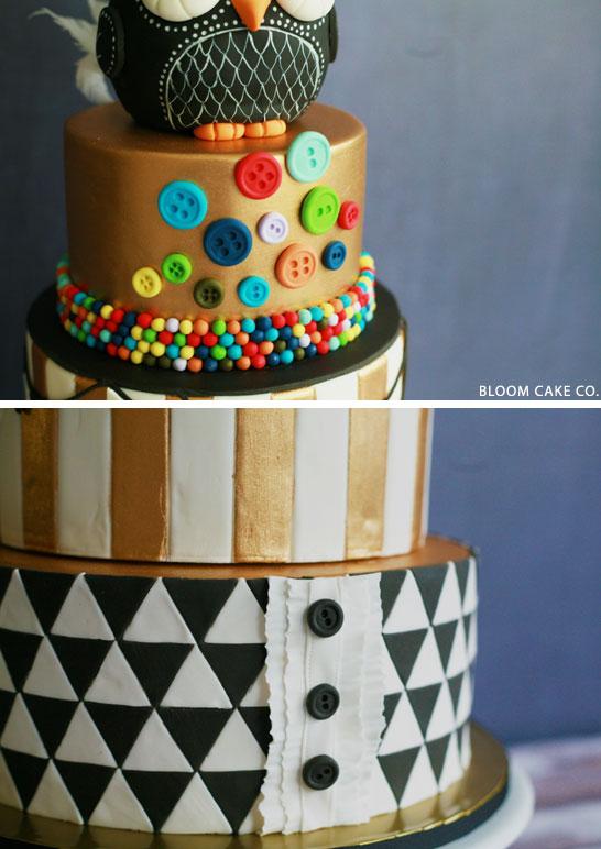 Black & Gold Owl Birthday Cake   by Bloom Cake Co
