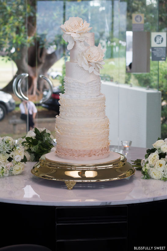Ivory and Champagne Ruffled Wedding Cake | by Blissfully Sweet