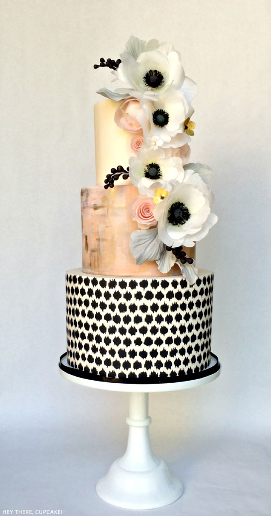 Black, White & Blush | Wafer Paper Anemone Cake | by Hey There, Cupcake! | on TheCakeBlog.com