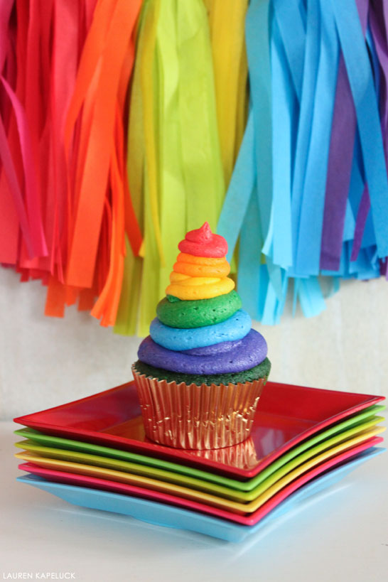 Green Velvet Cupcakes with rainbow buttercream | by Lauren Kapeluck | for TheCakeBlog.com
