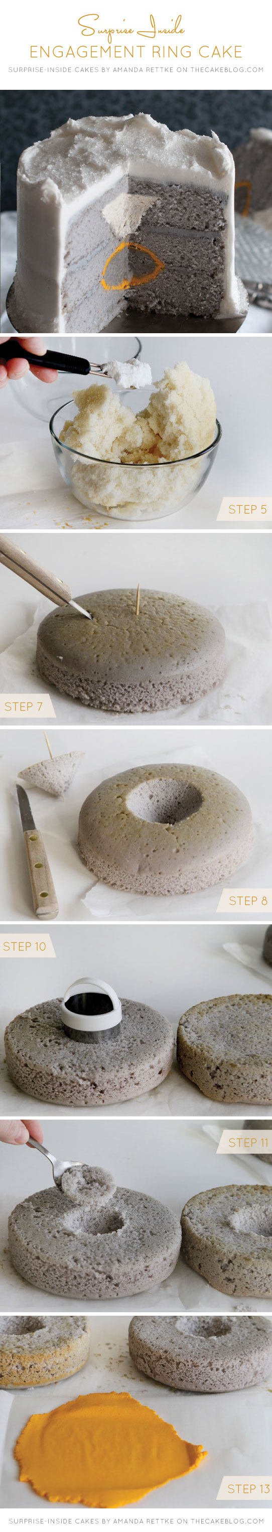 Learn to make this Surprise-Inside Engagement Ring Cake | by Amanda Rettke, author of Surprise-Inside Cakes | on TheCakeBlog.com