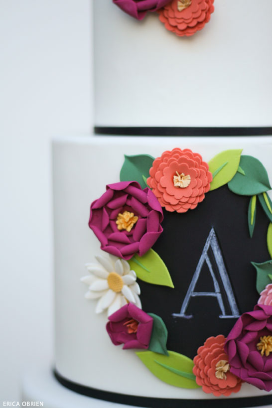 Chalkboard & Paper Flowers  |  translating trends into cake designs | by Erica Obrien for TheCakeBlog.com