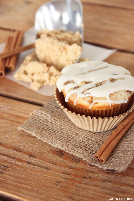 Cinnamon Roll Cupcakes   by Lauren Kapeluck for TheCakeBlog.com
