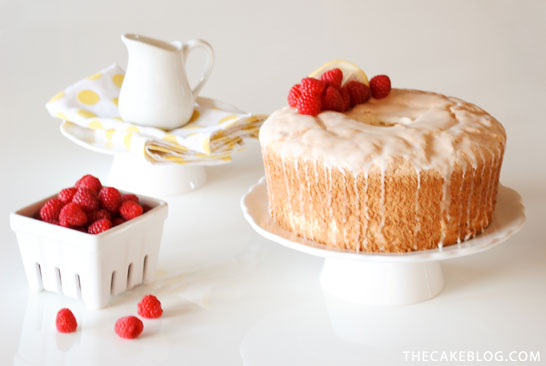 Angel Food Cake with lemon glaze and fresh raspberries |  Carrie Sellman for TheCakeBlog.com