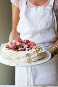 Rose water and pistachio pavlova with strawberries | from Live Bake Nourish by Amber Rose