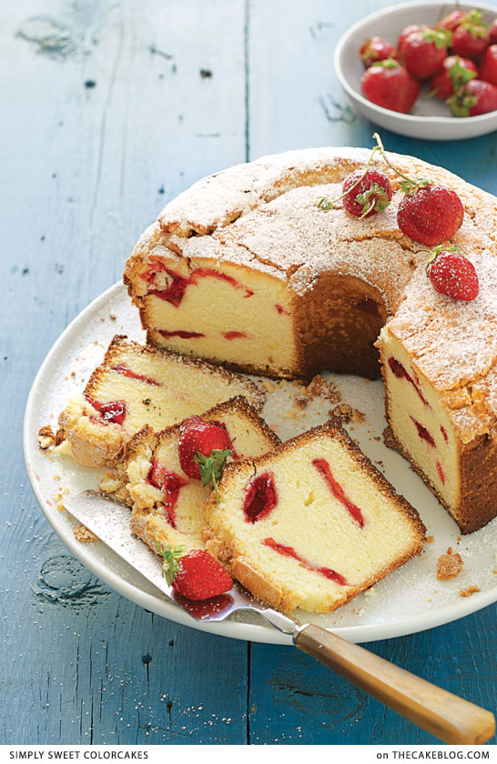 Strawberry Swirl Cream Cheese Pound Cake   a recipe from Simply Sweet ColorCakes