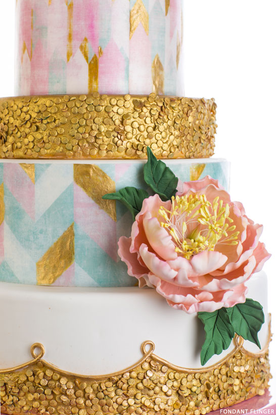 Gold Sequin Cake with soft pastels | by Fondant Flinger