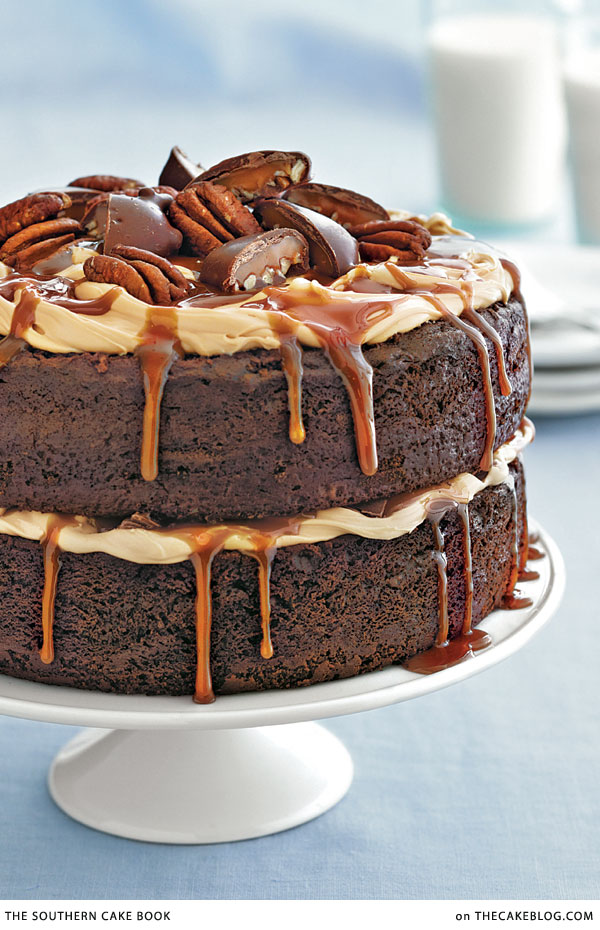 Chocolate Turtle Cake Recipe | from The Southern Cake Book by Southern Living on TheCakeBlog.com