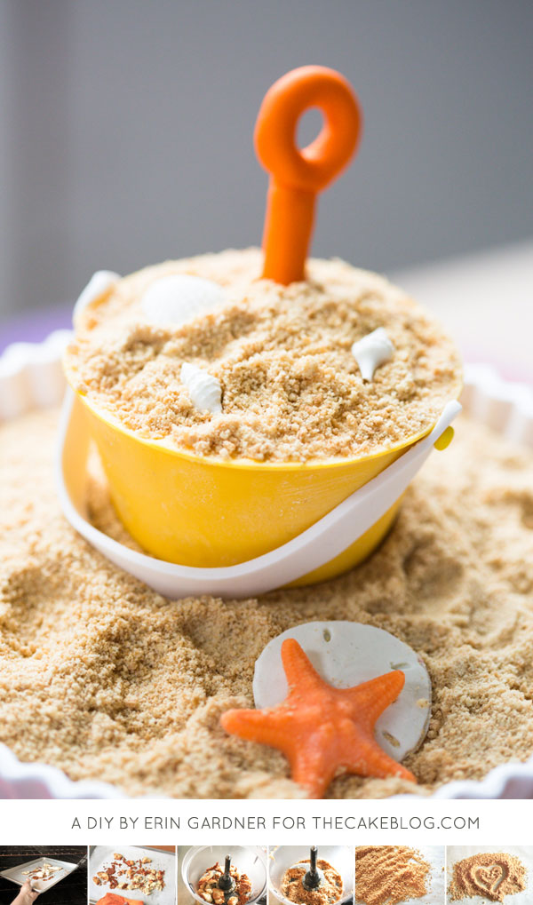 DIY Cake Sand | make edible sand from extra cake scraps. Great for beach and pool party cakes! | by Erin Gardner for TheCakeBlog.com