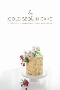 How to make Gold Sequin Cake | Metallic Sequin Cake Tutorial | by Jenna Rae Cakes for TheCakeBlog.com