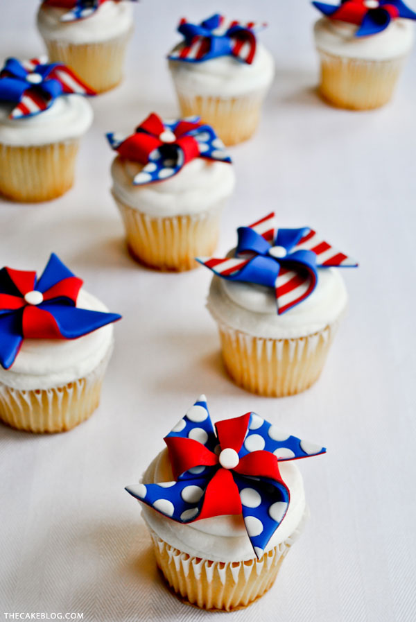 Patriotic Pinwheel Cupcakes | by Carrie Sellman for TheCakeBlog.com