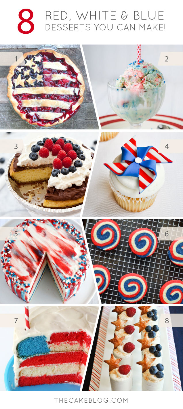 8 Red, White & Blue Desserts you can make for July 4th | on TheCakeBlog.com