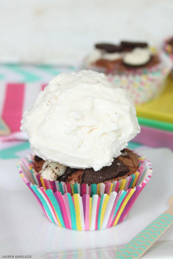 Brownie Cupcake Sundaes   by Lauren Kapeluck for TheCakeBlog.com