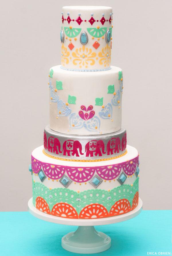 Boho Chic Cake  |  translating trends into cake designs | by Erica OBrien for TheCakeBlog.com