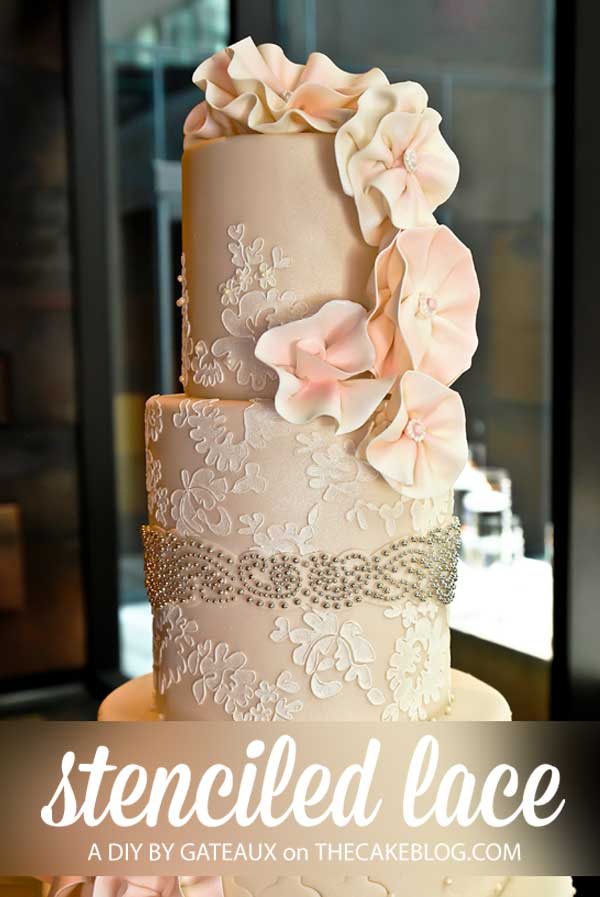 How to make a stenciled lace cake | Cake Tutorial by Gateaux Inc on TheCakeBlog.com