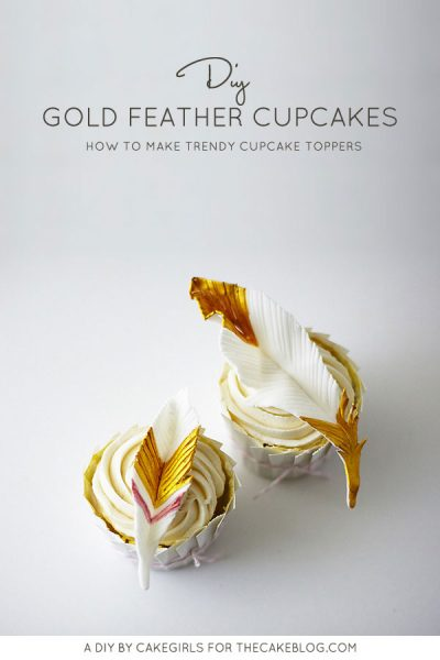 DIY Gold Feather Cupcakes