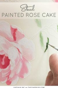 Stencil-Painted Rose Cake