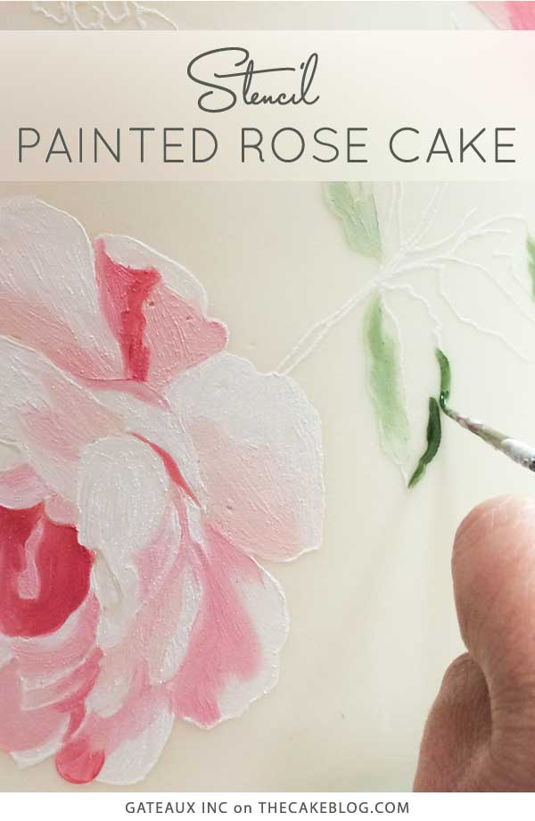 How to stencil and paint a cake | Learn how from Gateaux Inc on TheCakeBlog.com