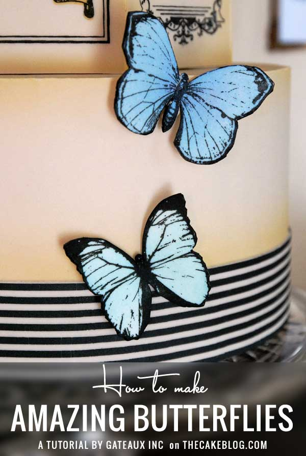 How to make stenciled fondant butterflies | Cake Tutorial by Gateaux Inc on TheCakeBlog.com