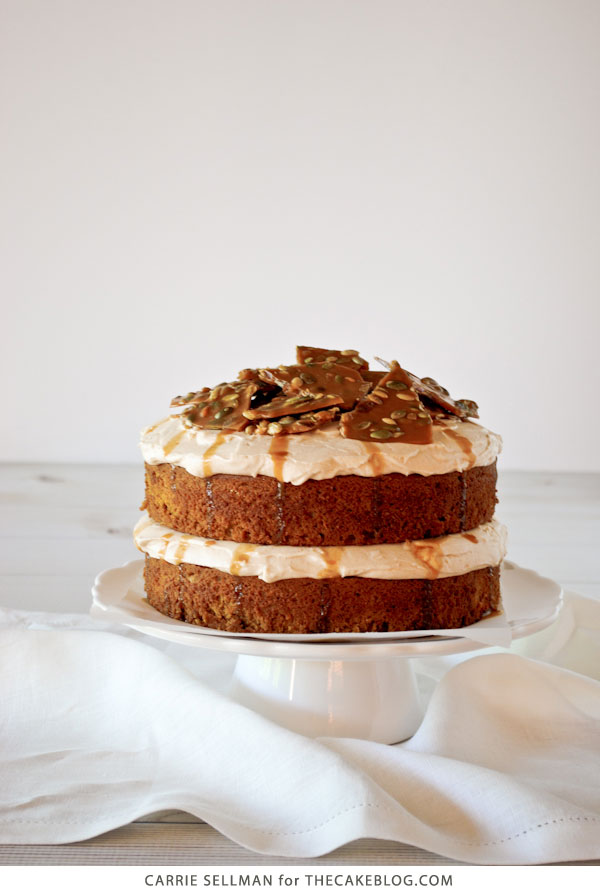 Pumpkin Cake with Cinnamon Cream Cheese Frosting and Pumpkin-Seed Brittle Topping | by Carrie Sellman for TheCakeBlog.com