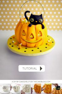 Kitty Cat in a Pumpkin Cake |  a cake tutorial by Cakegirls for TheCakeBlog.com