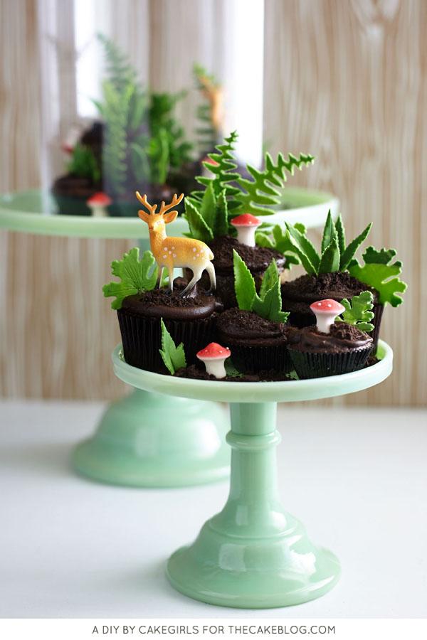 Cupcake Terrarium - how to make a nature-inspired terrarium filled with cupcakes, edible greenery, petite mushrooms and miniature deer | Cakegirls for TheCakeBlog.com