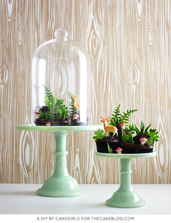 Cupcake Terrarium - how to make a nature-inspired terrarium filled with cupcakes, edible greenery, petite mushrooms and miniature deer | Cakegirls for TheCakeBlog.com