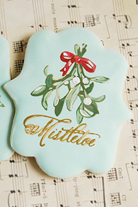 Stencil painted Mistletoe Cookies