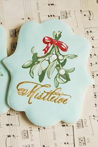Stencil painted Mistletoe Cookies