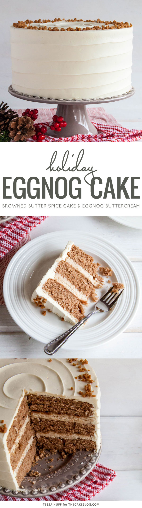 Eggnog Cake! A browned butter spice cake with eggnog buttercream, perfect for holiday entertaining & Christmas dessert | by Tessa Huff for TheCakeBlog.com