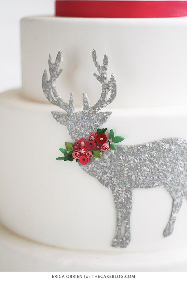 Glittering Deer Silhouette Cake |  translating trends into cake designs | by Erica OBrien for TheCakeBlog.com