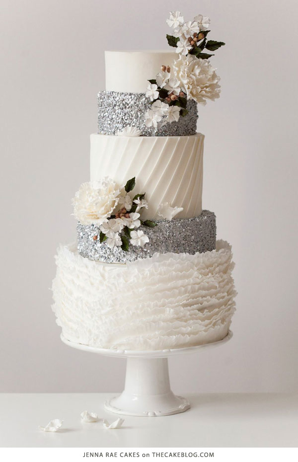 Gorgeous silver sequin cake | Bakery Tour of Jenna Rae Cakes | on TheCakeBlog.com