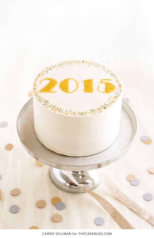 New Years Eve Sprinkle Cake - free template UPDATED for 2019! | by Carrie Sellman for TheCakeBlog.com