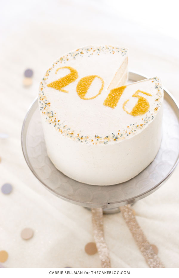 Sprinkle New Years Eve Cake - free template UPDATED for 2017! | by Carrie Sellman for TheCakeBlog.com